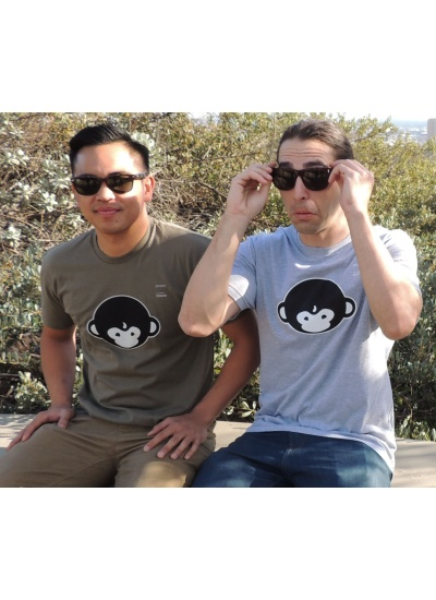 DMT Monkey T-Shirt - Mens, Forest Green and Heather Grey - Group Portrait