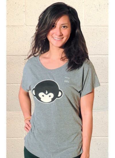 DMT Monkey T-Shirt - Womens, Heather Grey - Portrait